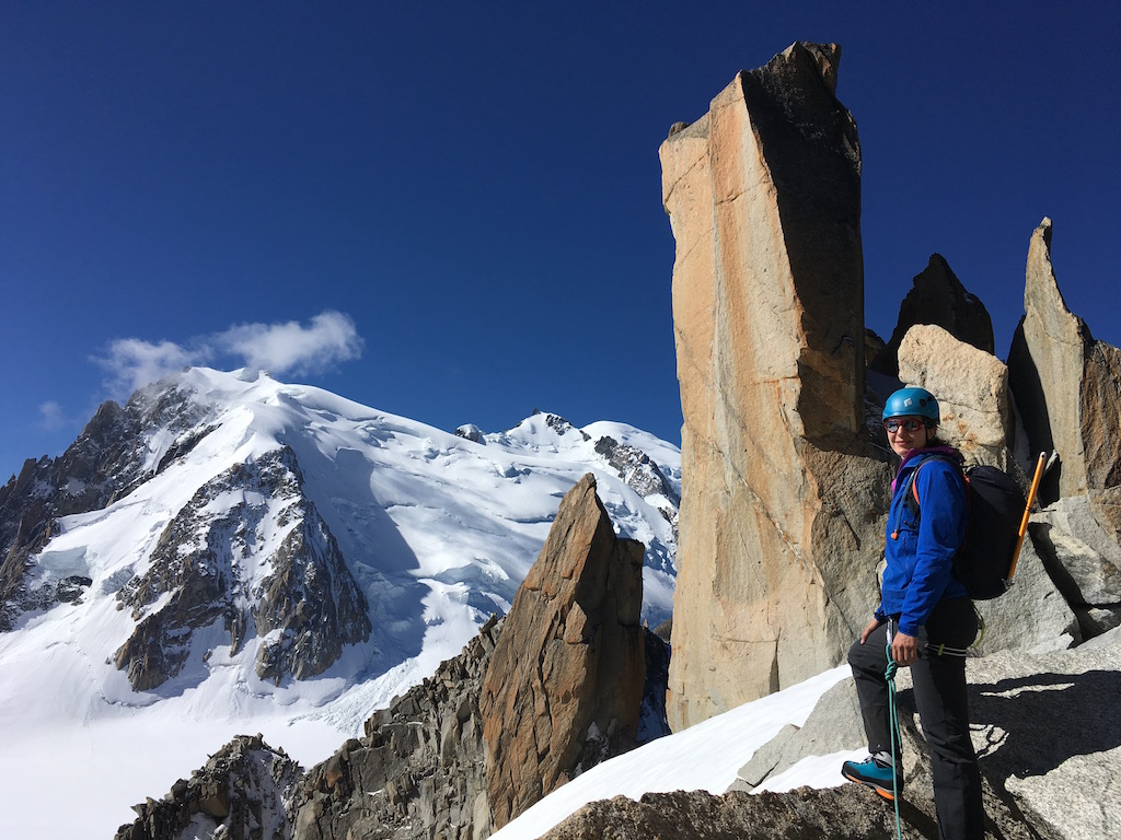Climbing on the Cosmiques Arete on the Mont Blanc Massif