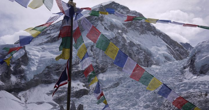 View of Everest from Base Camp with Prayer Flags
