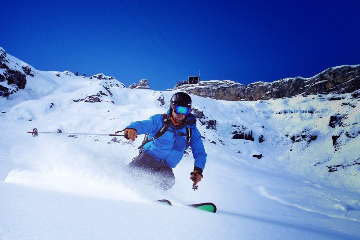 Off piste skiing in Murren, Bernese Oberland